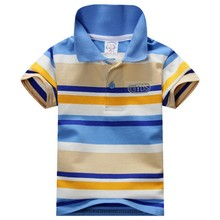 New 2015 Summer Fashion 1-7Y Child Baby Boy Stand Collar Striped T-shirt Casual Kids Tops Tee Polo Shirt Hot