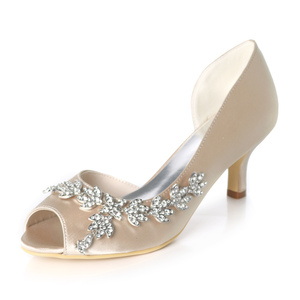 ladies low heel peep toe bridal shoes for wedding