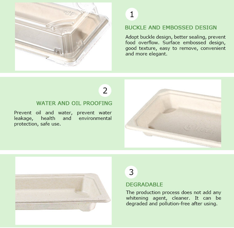 Easy Green Biodegradable Compostable Food Packaging Sushi Container Box With Anti-Fog Lid