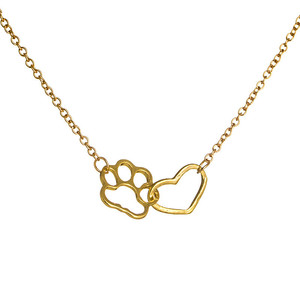 DS 2018 hot heart and dog claw shape pet dog silver jewelry gifts animal gold necklaces pendants jewelry accessories