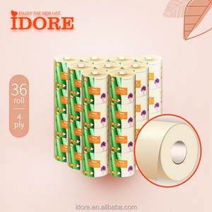 Whloesale 4 ply Bamboo unbleached toilet paper bathroom tissue roll