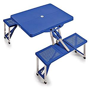 """54"""" Picnic Time Blue Folding Table with Seats with an Aluminum Alloy Frame for Durability"""