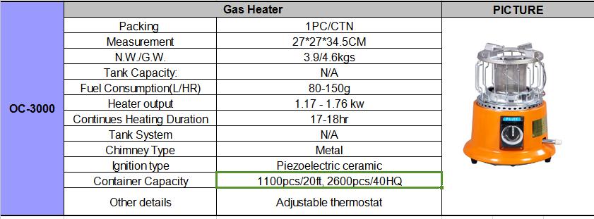 Pasco portable gas heater Fujix brand OC-3000