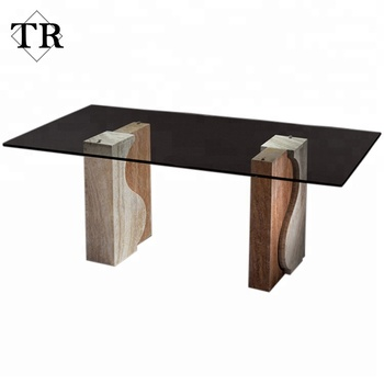 Simple Design Gl Top Marble Travertine Stone Base Dining Table
