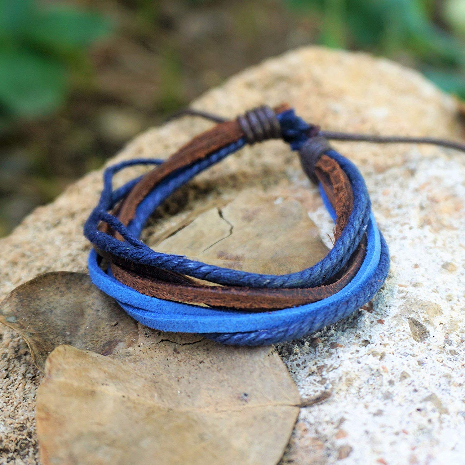 BARBARI Jewelry Blue Leather Cords Bracelet | Handmade Gift for Him and Her! High Quality Handmade Genuine Leather Wristband, Wrap Blue and Brown Cords Bracelet