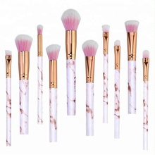10pcs Your Own Logo Cosmetics Professional Marble Handle Makeup Brush Set Wholesale
