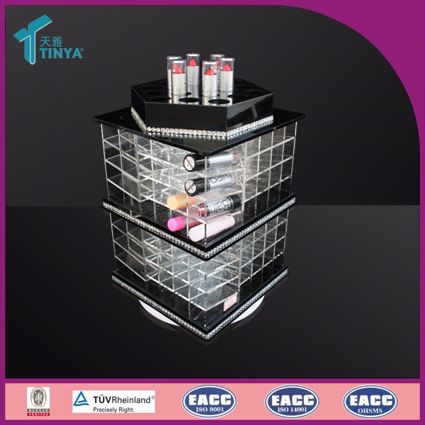 2016 Best Seller Acrylic Beauty Skin Care 146 Slots Spinning Makeup Stands Tower Lipstick Holder