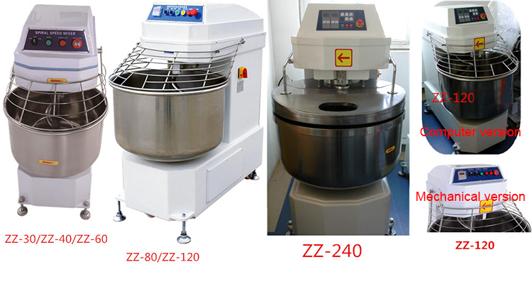 240L 100kg Big Power Flour Spiral Dough Mixer