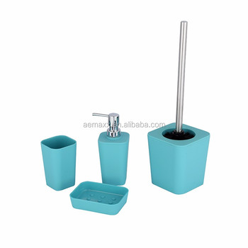 4 piece fashion blue color plastic bathroom accessory set bath accessory for decor