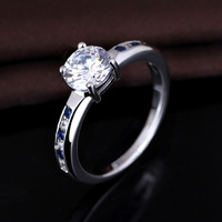Fashion wedding white gold plated cz diamond engagement ring for women