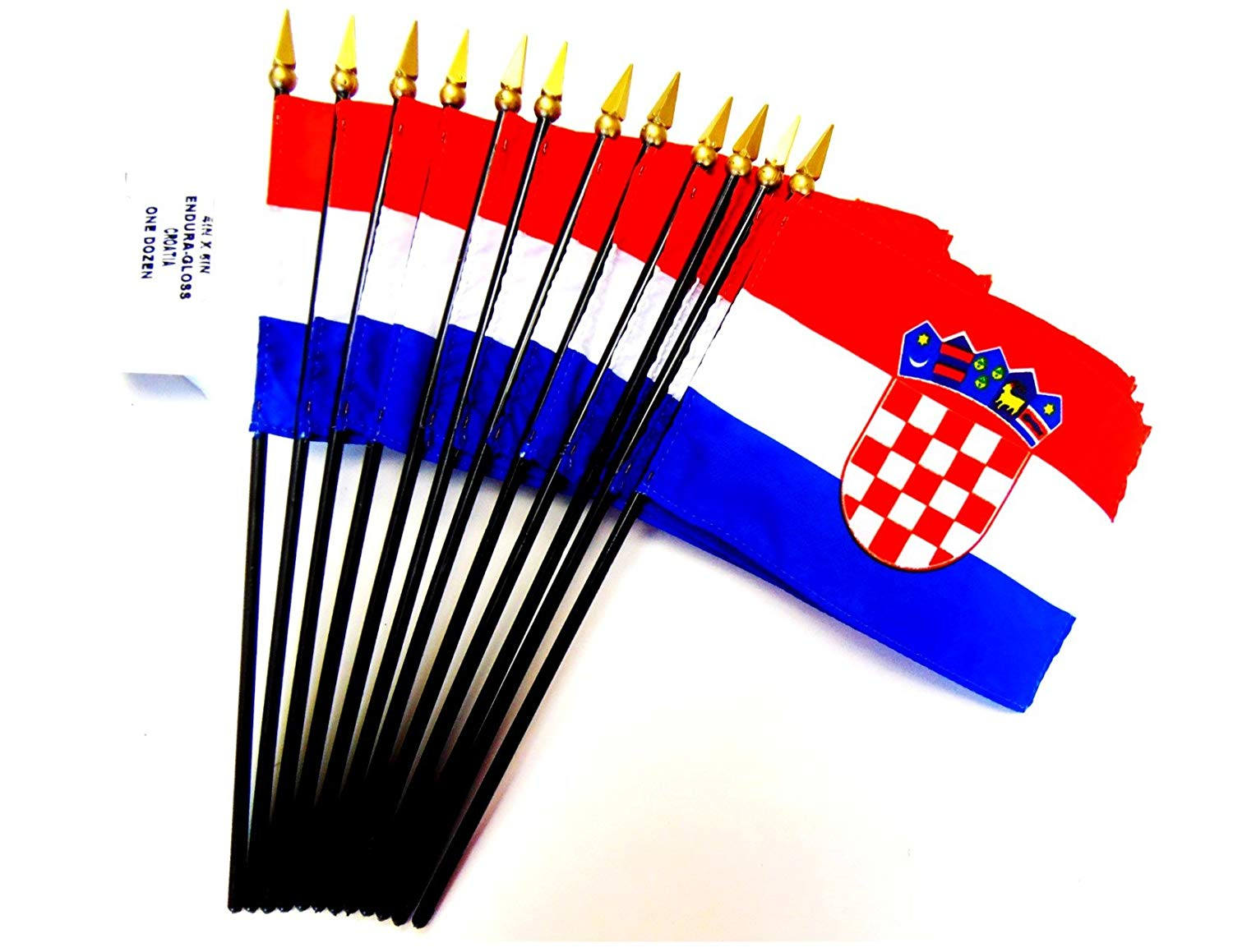 "MADE IN USA!! Box of 12 Croatia 4""x6"" Miniature Desk & Table Flags; 12 American Made Small Mini Croatian Flags in a Custom Made Cardboard Box Specifically Made for These Flags"