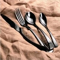 Black stainless steel cutlery set, set cutlery stainless steel, black metal cutlery