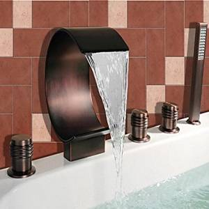 CXYY Antique Roman baths waterfall/wide/shower with two handle ceramic valve five-hole oil copper,