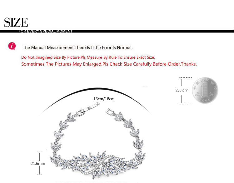 LUOTEEMI Wholesale Fashion Marquise Cut Clear Cubic Zircon Promotion 2015 New Rhodium White Gold Luxury Wedding Bridal Bracelet