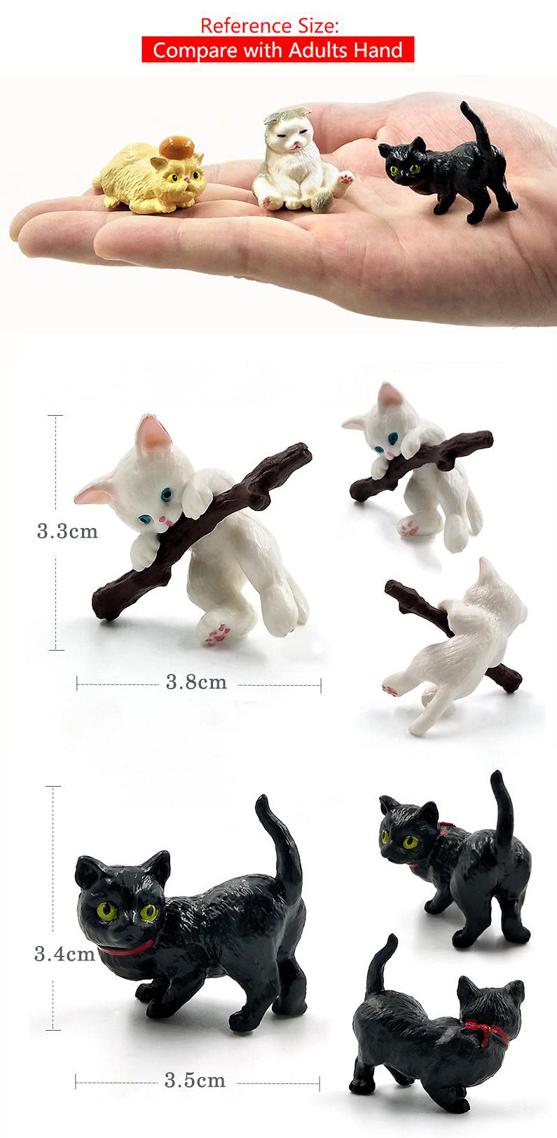 Play Cat Statue Mini Realistic Cat Animal Decoration Cartoon Statue Cat Decoration