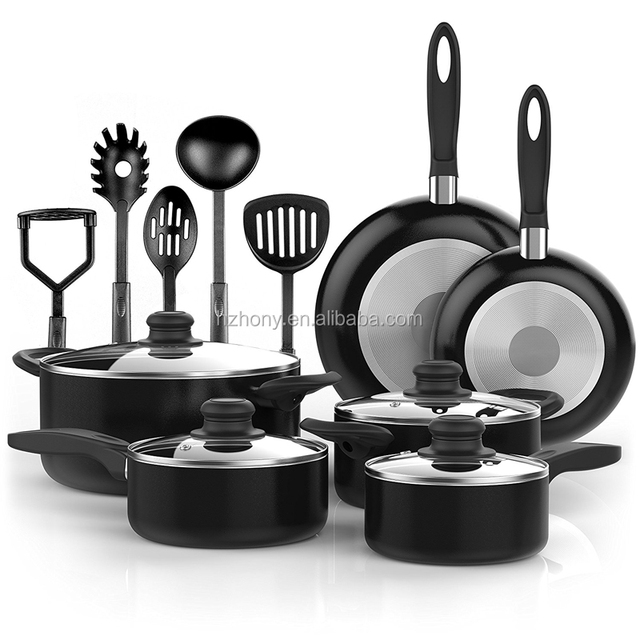 15 Piece Nonstick Cookware Set Kitchen Pots and Pans Set Black Oven Safe Nonstick with Cooking Utensils