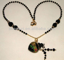 Necklace with aroma oil bottle/energy ceramic beads/Needle dropper