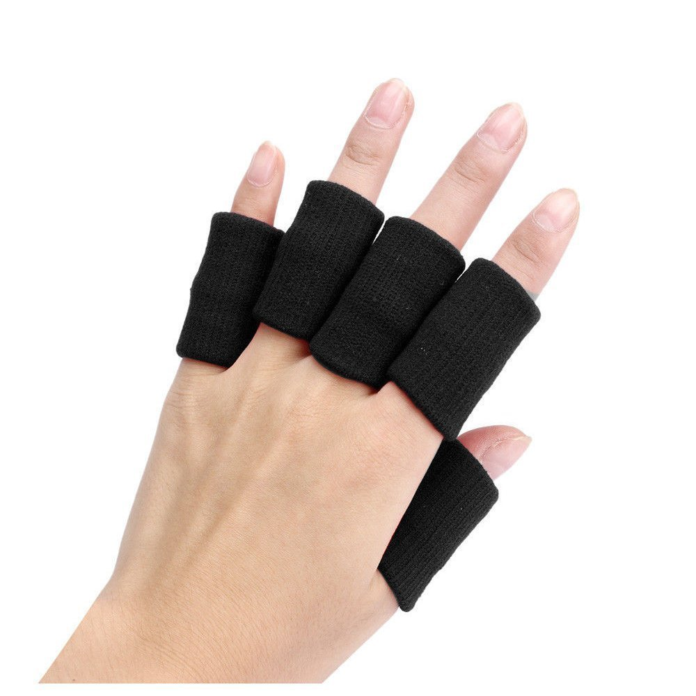 Finger Guard Sleeves - SODIAL(R)Portable 10pcs Stretch Sports Basketball Finger Guard Support Sleeves Protector black