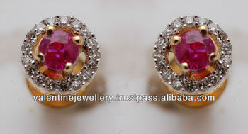 Ruby Jewelry Earring Red Stone Gold For Cute S Small Diamonds Accent