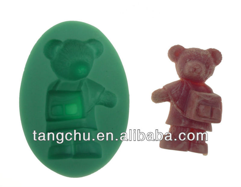 Bear With Bag Shape Silicone Mould Fondant Gum Paste Mould Cake Decorating Baking Tool