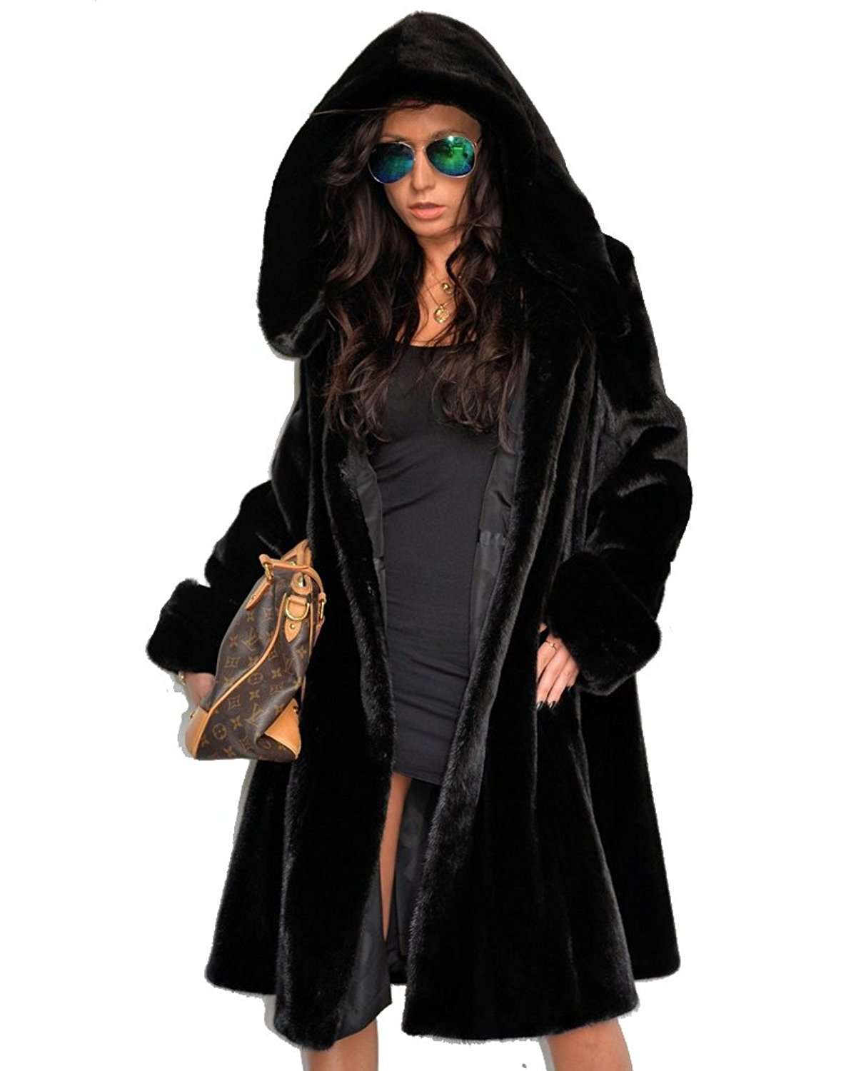 84015c900f1 Get Quotations · Aox Women Winter Coat Faux Fur Jacket Casual Long Parka  Outdoor Outerwear Black Winter Top Plus