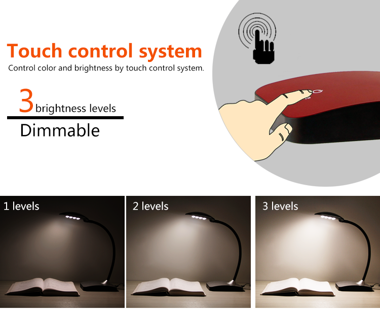 Patented dimmable flex arm lamp for ideal comfort student 5.8W table lamp