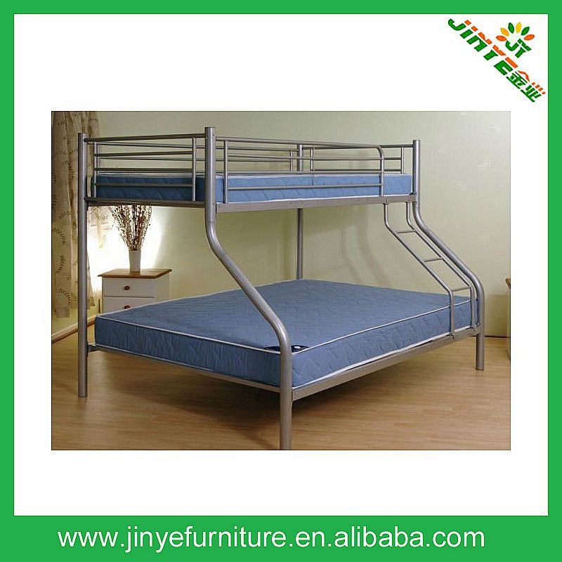 Metal Bunk Bed Trio Triple Double + Single 2 In 1 Deluxe Furniture Silver Ladder