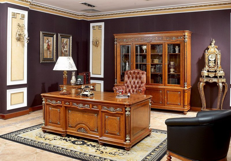 0029 Classical Style Solid Wood Office And Study Room