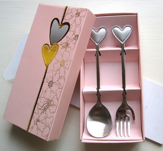 Party Favor Love Heart Spoon and Fork 2pcs set Wedding giveaways
