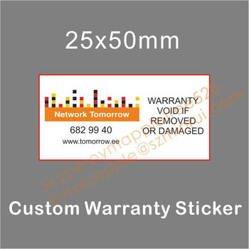 Professionally printed ultra destructible vinyl labelbreakable eggshell warranty stickerwarranty void if removed