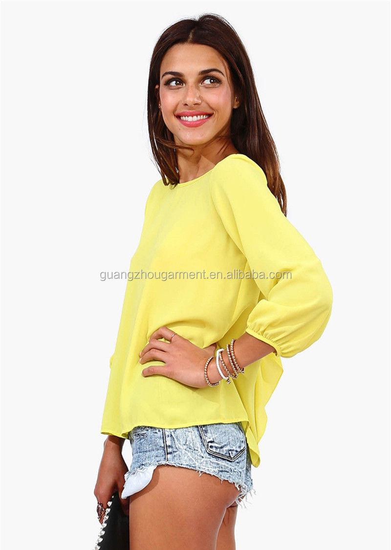 2014 Popular Women's 3/4 Sleeve Multicolor low bow back Chiffon Backless T- shirt - 2014 Popular Women's 3/4 Sleeve Multicolor Low Bow Back Chiffon