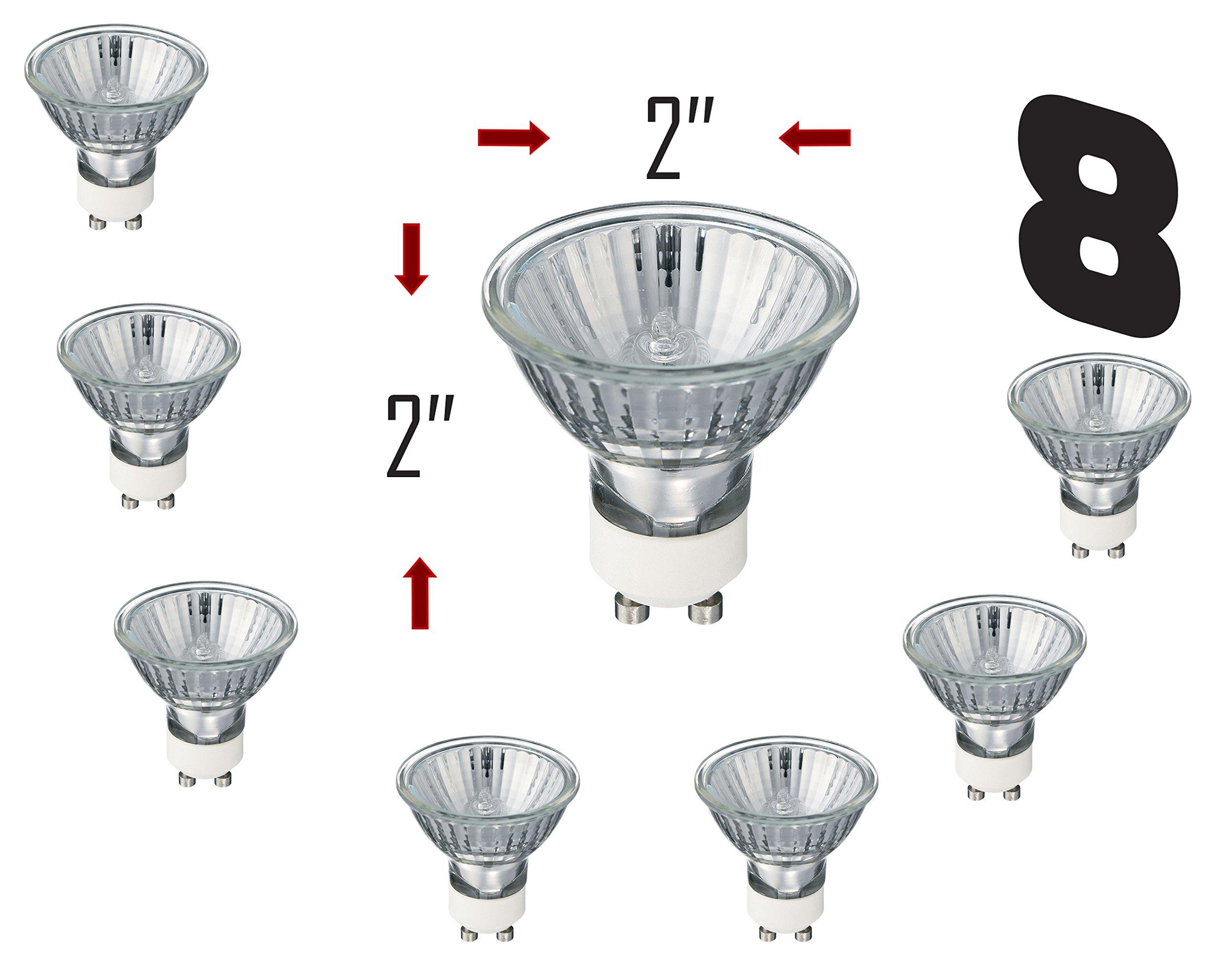SleekLighting GU10, 20 Watt, Halogen 120Volt, Light Bulb Spotlight, Recessed, Track Lighting/UV Glass Cover-2700K (pack of 8)