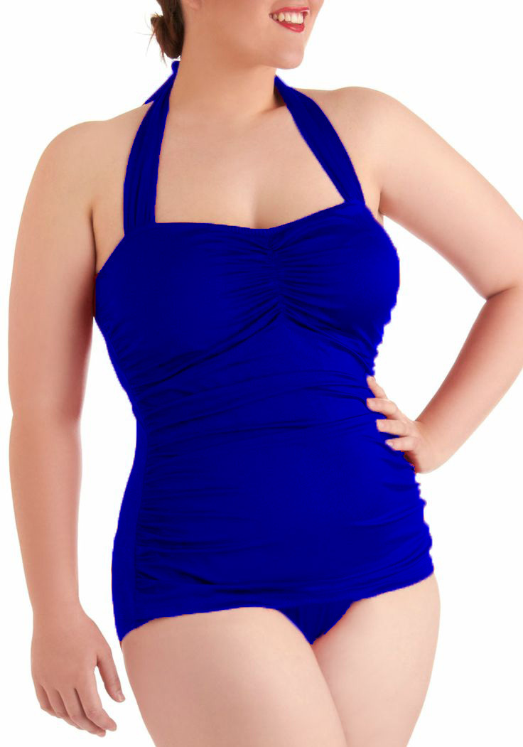 Plus Size Halter Sexy Monokini Women's One Piece Swimsuit ...