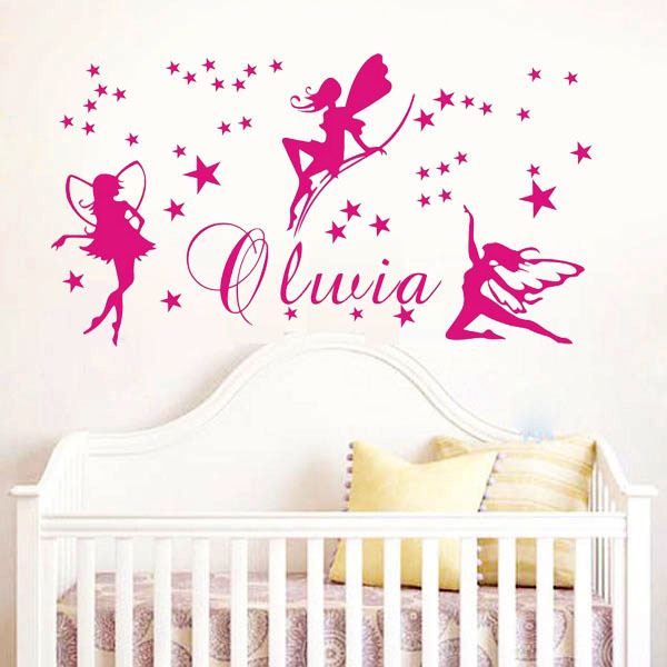 f e nom personnalis stickers muraux b b fille chambre murale mur dire quote parole lettrage. Black Bedroom Furniture Sets. Home Design Ideas