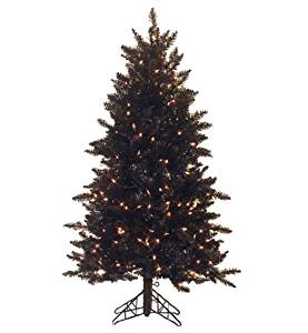 Vickerman Pre-Lit Slim Black Ashley Spruce Artificial Christmas Tree with Clear Lights, 4.5'