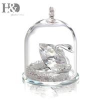 H&D Pretty Animated Crystal Swan Figurine In a Dome Holiday Gift Crystal Cute Paperweight