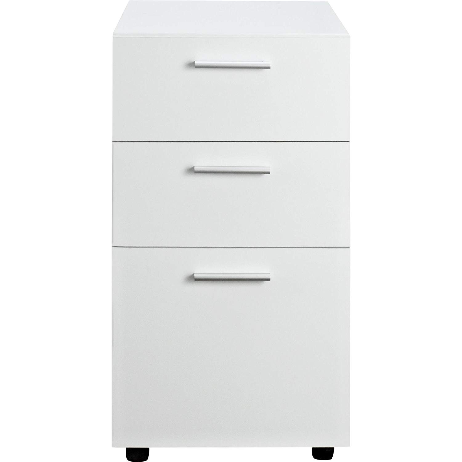 MyEasyShopping Wicker Park Throop White Mobile File Cabinet Cabinet Mobile File Drawer 3 Filing White Office Home Metal Rolling Storage
