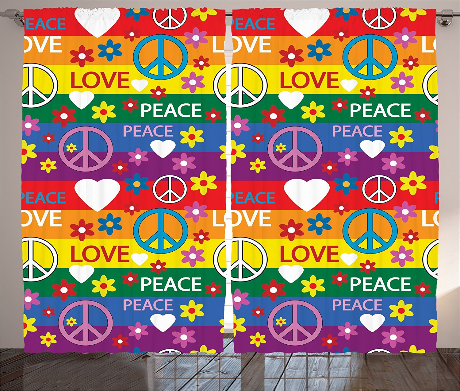 Buy Groovy Decorations Curtains By Ambesonne Heart Peace Symbol