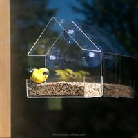 Clear Acrylic Window Bird Feeder With Strong All Weather Suction Cups
