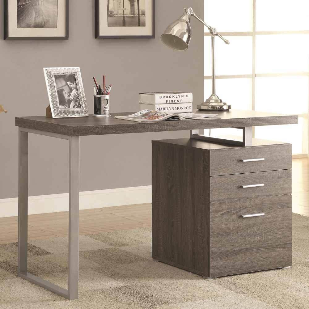 1PerfectChoice Contemporary Office Computer Writing Desk File Cabinet Reversible Weathered Grey