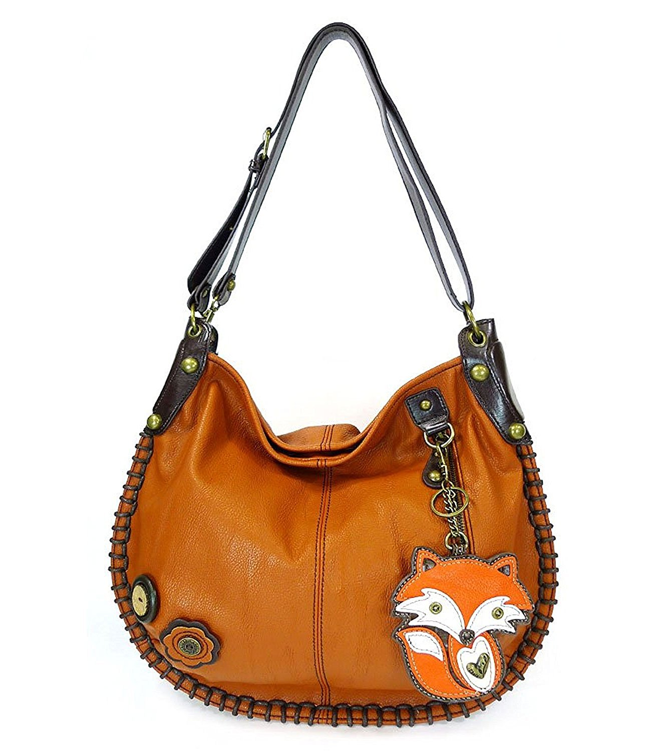 Get Quotations · Chala Handbag Charming Hobo Crossbody Large Tote Bag Orange  FOX Vegan leathe 66bd39a4ef