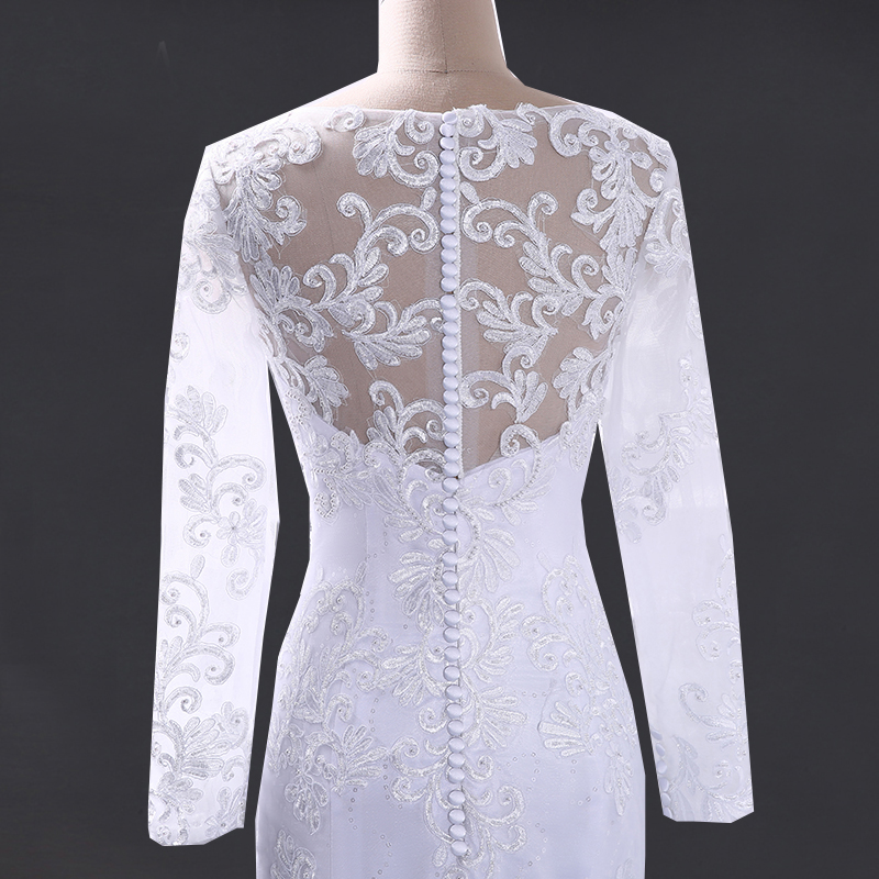 V-neck Mermaid Long Sleeve Lace Beaded Wedding Dress