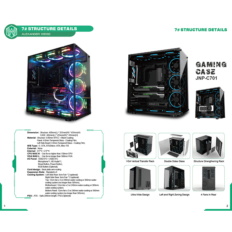 JNP RGB Flowing Belt in Decoration gaming acrylic atx case 3.0 white Tempered Glass computer case