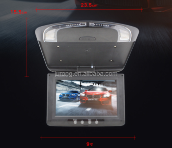 Hot selling 9'' Roof Mount Flip Down LCD Monitor with Clock LED lights