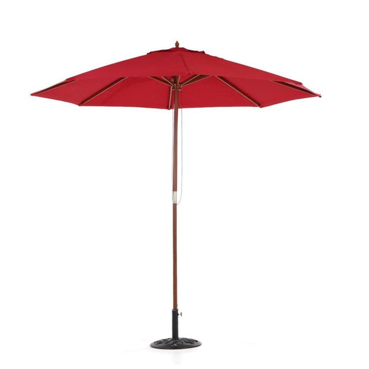 Red Color Wooden Beach Umbrella Outdoor