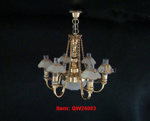 Bambole Casa Lampadario Chandelier 4 Braccio Ghiacciato Tulipano Tonalità Su 12V