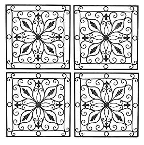 """Lucina Tuscan 24"""" Square Indoor Outdoor Wrought Iron Wall Grille Set"""