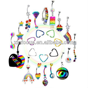316L Stainless Steel Belly Ring&Titanium Plated Ear Plug