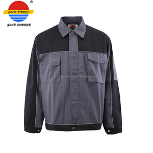 Grey Black Contrast Canvas Working Jacket Durable Men's Workwear Top Engineering Working Uniform