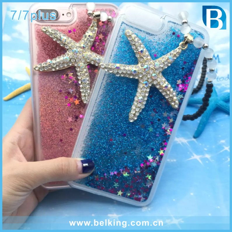 New Hot Sale DIY Style Ocean Seashell Starfish Soft TPU Phone Back Cover Phone Case For iPhone 7 7plus, Bling Quicksand Cover